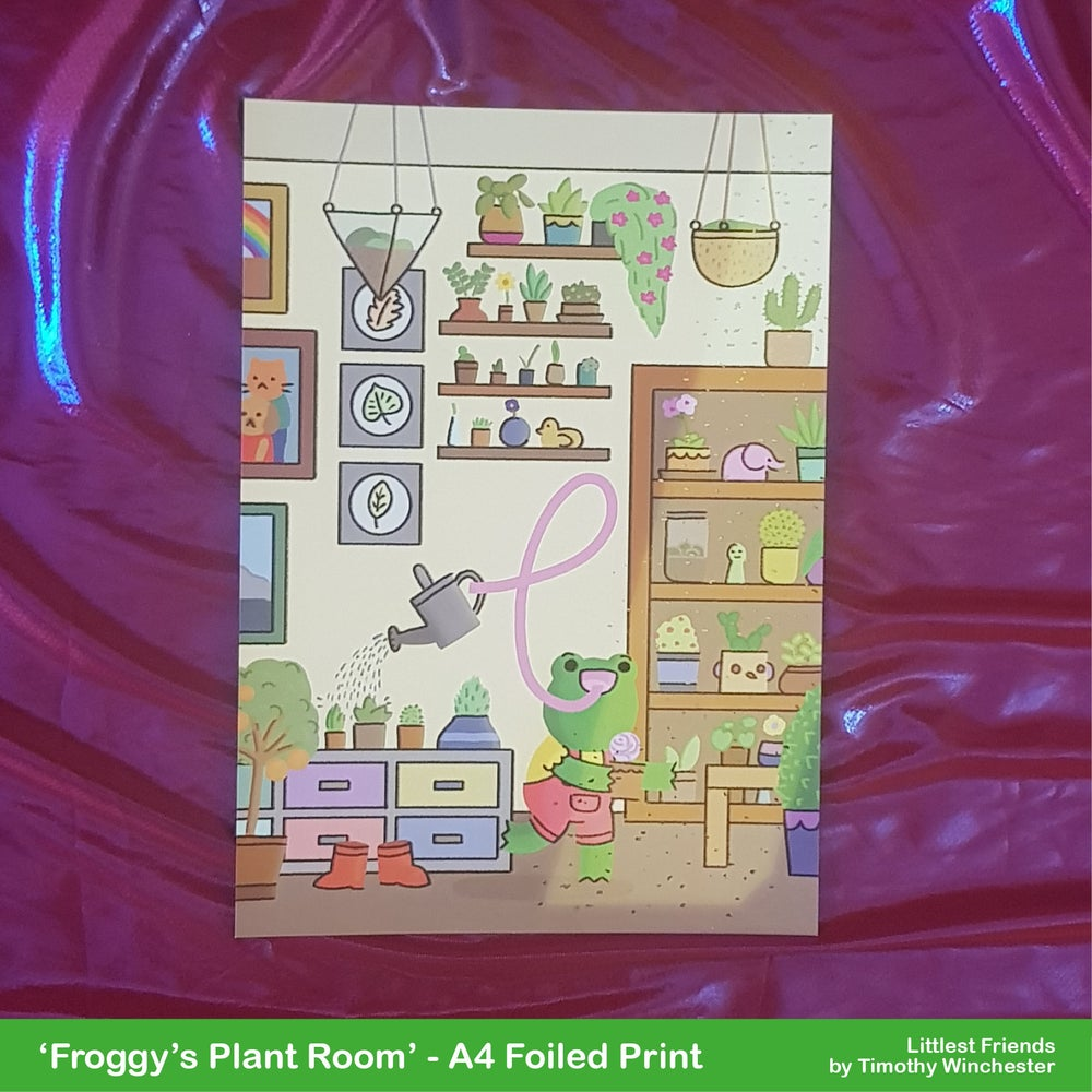'Froggy's Plant Room' - A4 foiled art print