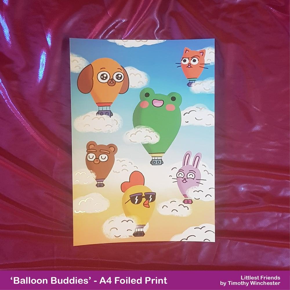 'Balloon Buddies' - A4 foiled art print