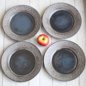 Image of Four Modern Rustic Ceramic Dinner Plates in Charcoal Grey and Black Glaze Stoneware Made in USA