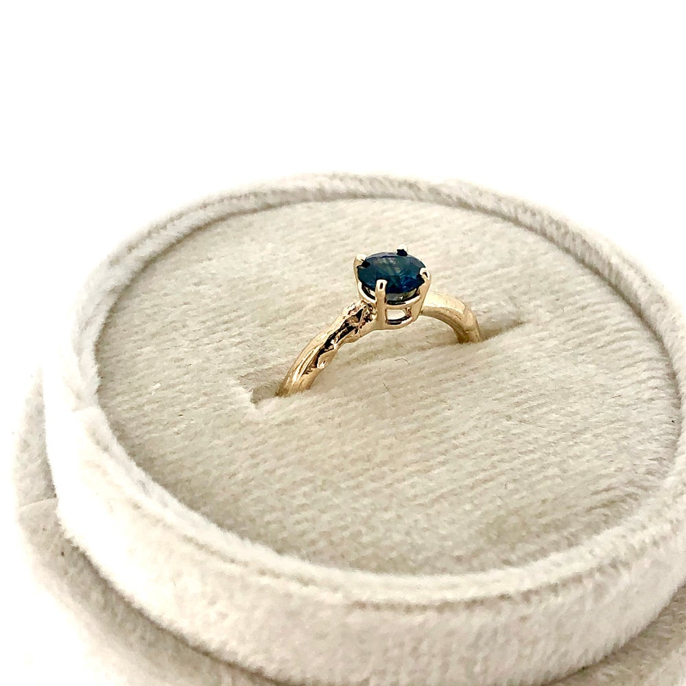 Image of Australian sapphire twig engagement ring . 14k yellow gold