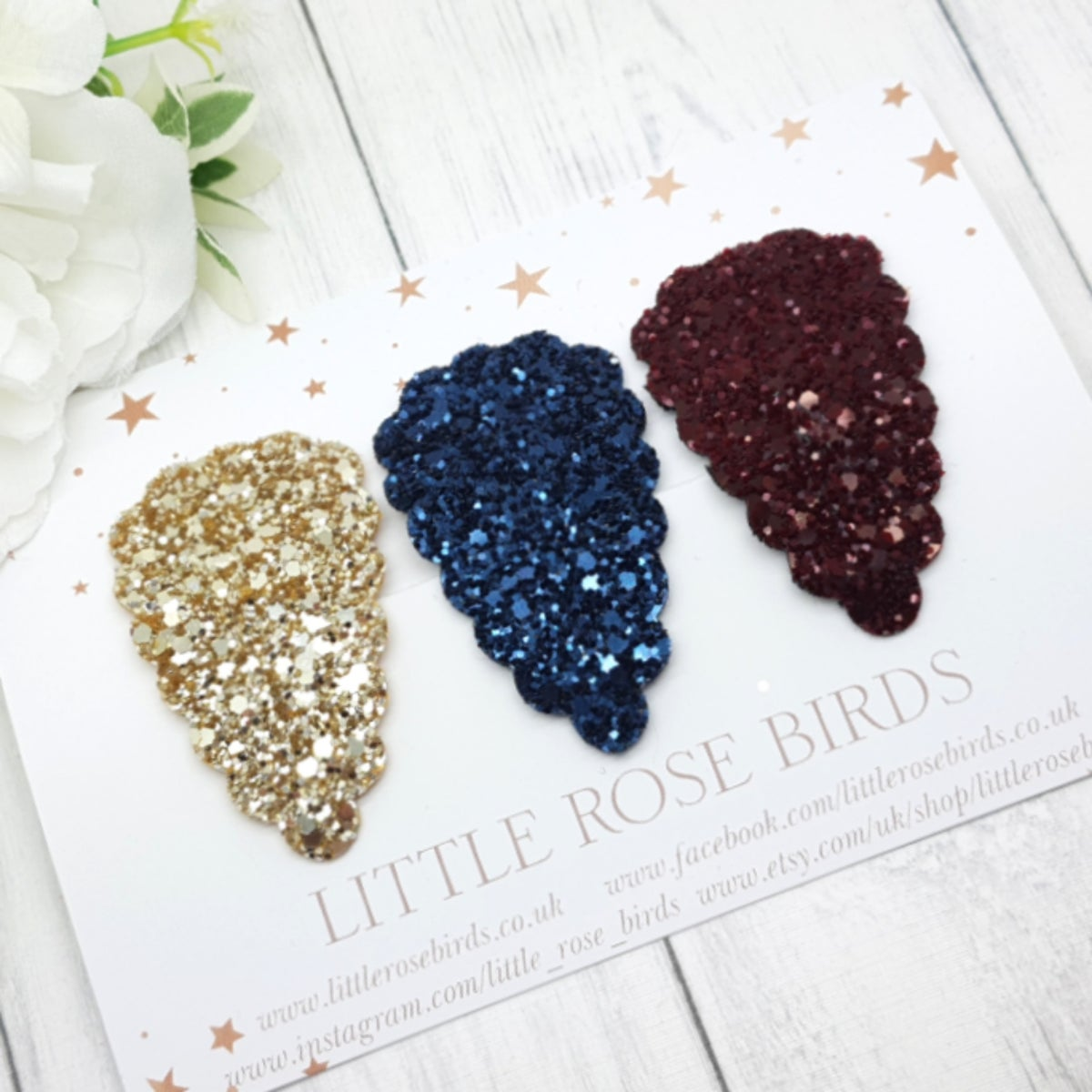 Image of Gold, Navy and Burgundy Glitter Scallop Snap Clip Set