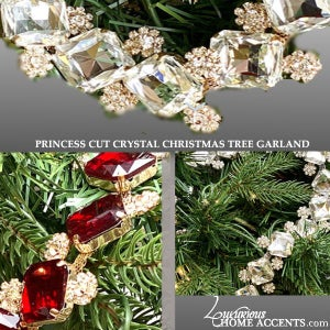 Image of Ruby Red Crystal Christmas Tree Garlands