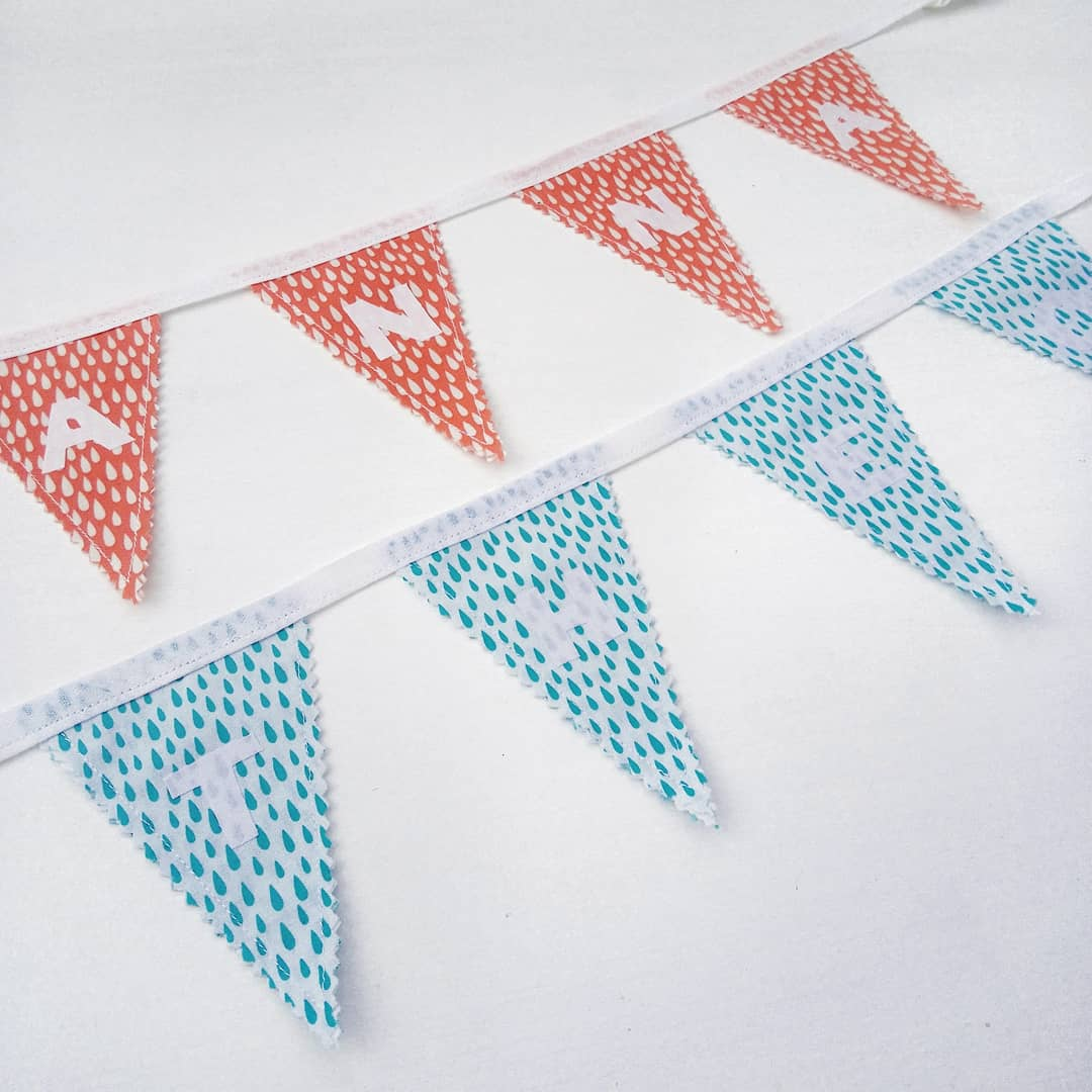 Image of Raindrop Mini  Personalised Bunting