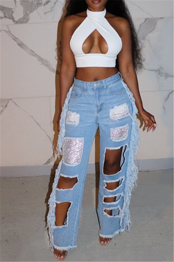 Image of Fashionably Distressed Denim Jeans