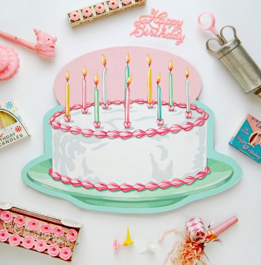 Image of Limited Edition hand painted party cake with candles plaque
