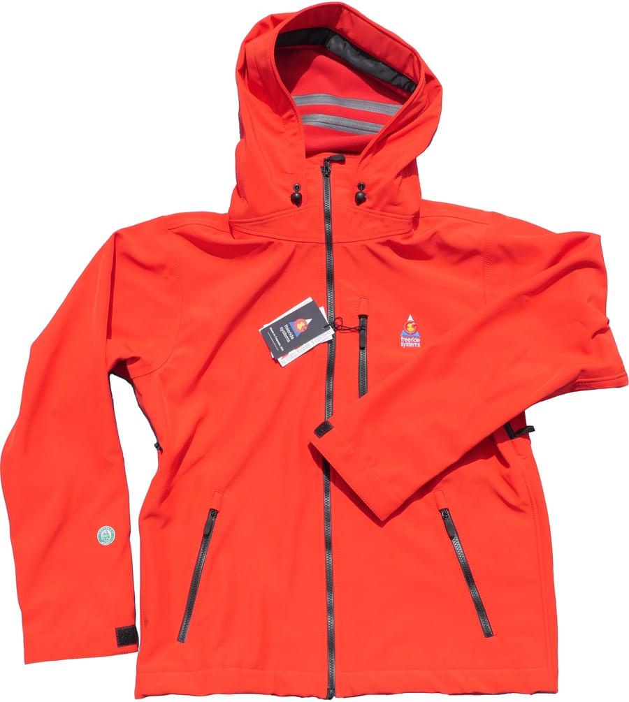 Image of Antero II Jacket Bright Red Hybrid Softshell Polartec Made in Colorado
