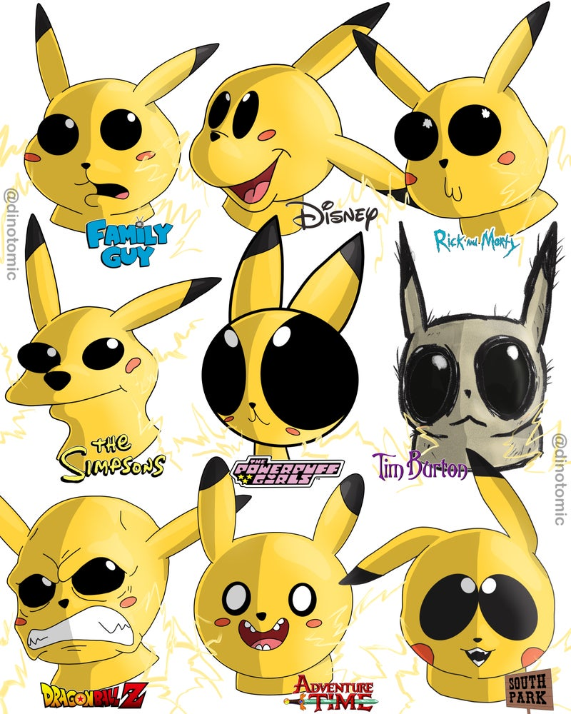 Image of #252 Pikachu in 9 styles