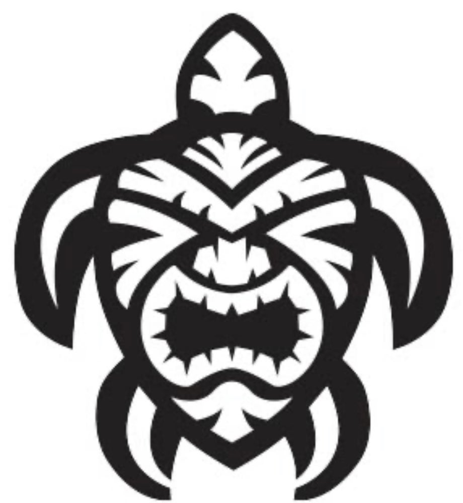 Image of Tiki Turtle Vinyl sticker.