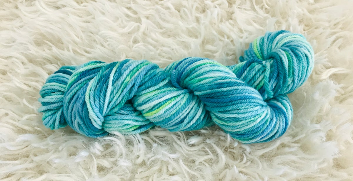 Peacock Blue Hand Dyed 8 ply Wool