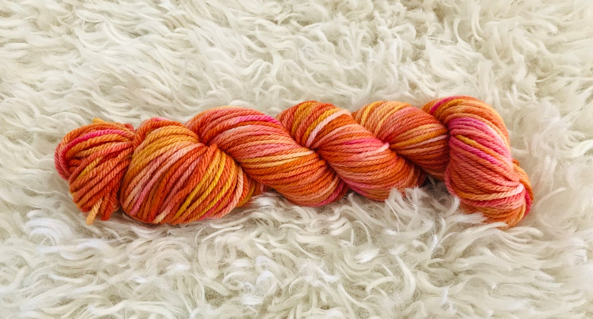 Orange Sunset Hand Dyed 8 ply Wool