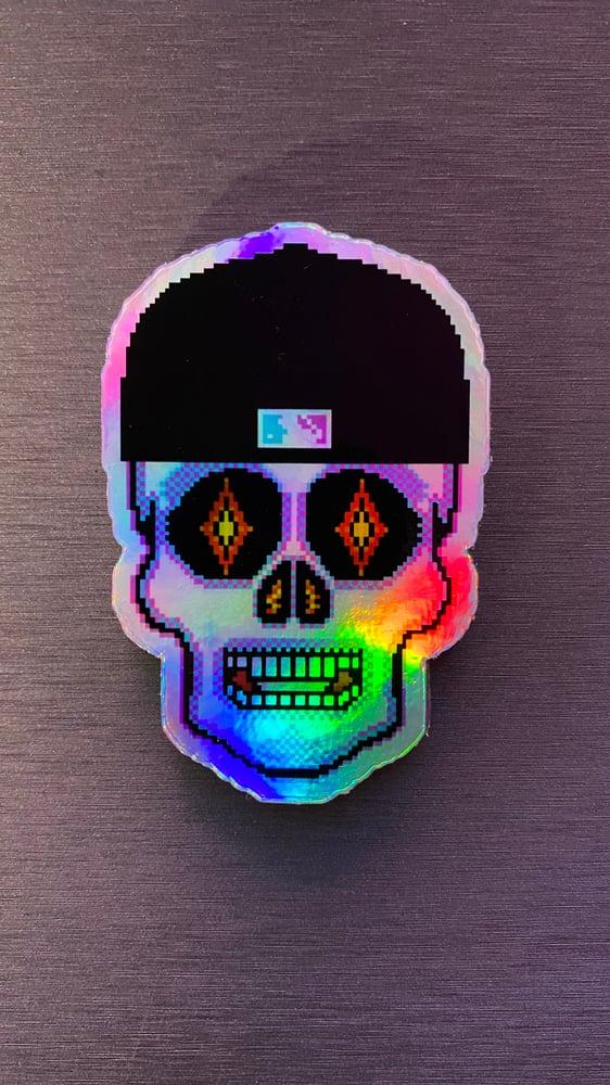 Image of Iridescent Fitted Cap Miami Nites Sugar Skull Sticker