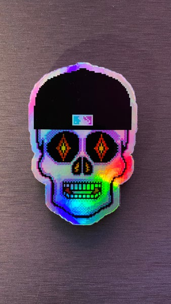 Image of Iridescent Fitted Cap Miami Nites Sugar Skull Sticker