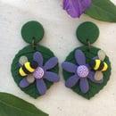 Image 2 of Bee on Flower Earrings