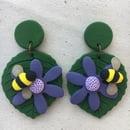Image 3 of Bee on Flower Earrings