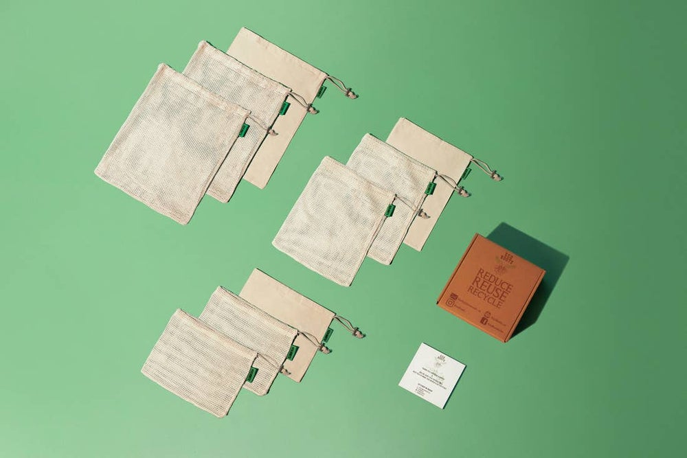 Image of Organic Cotton Produce Bags-Set of 9