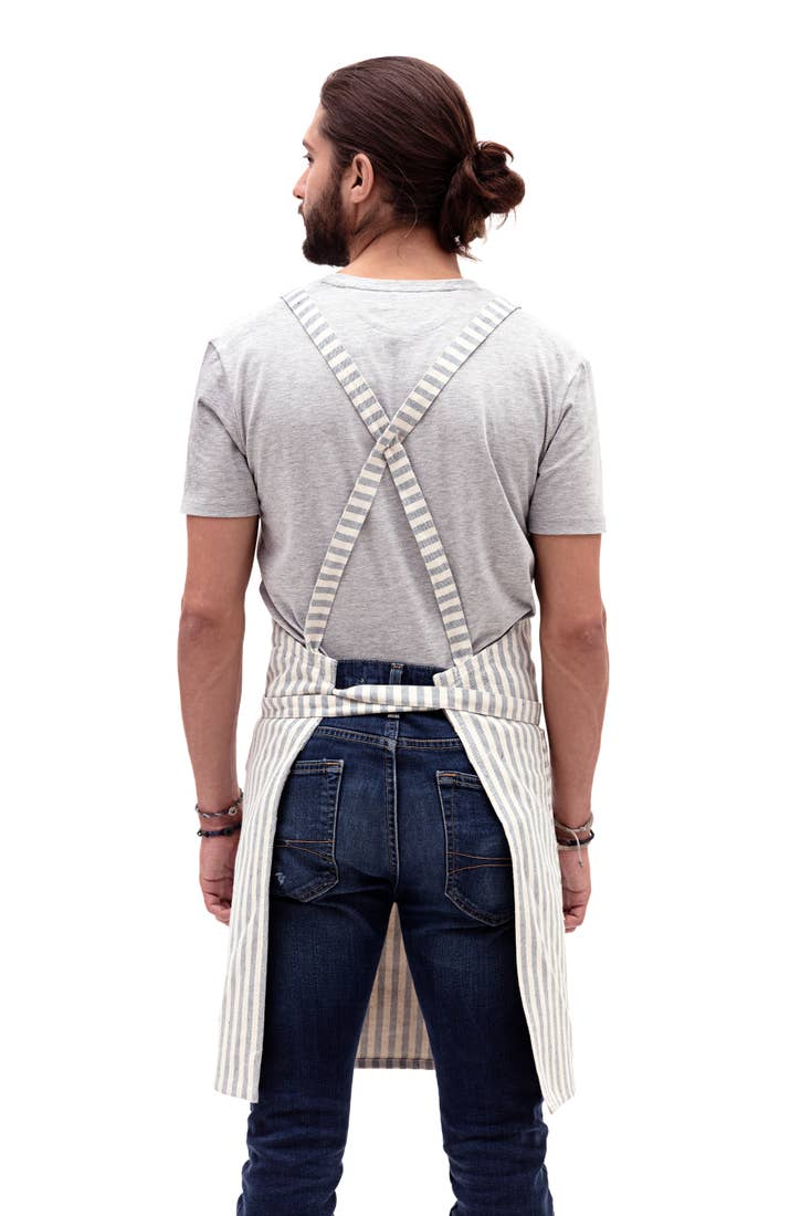 Image of Striped Crossback Bib Apron-Denim or Stripe