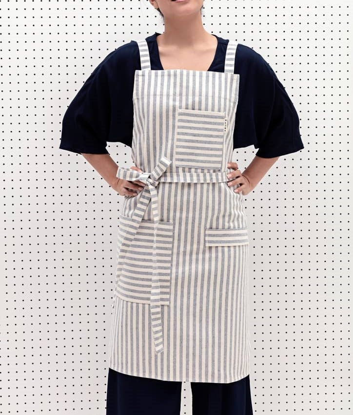 Image of Striped Crossback Bib Apron