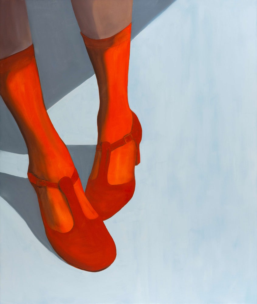 Image of Red shoes for dancing  A4 print - Framed