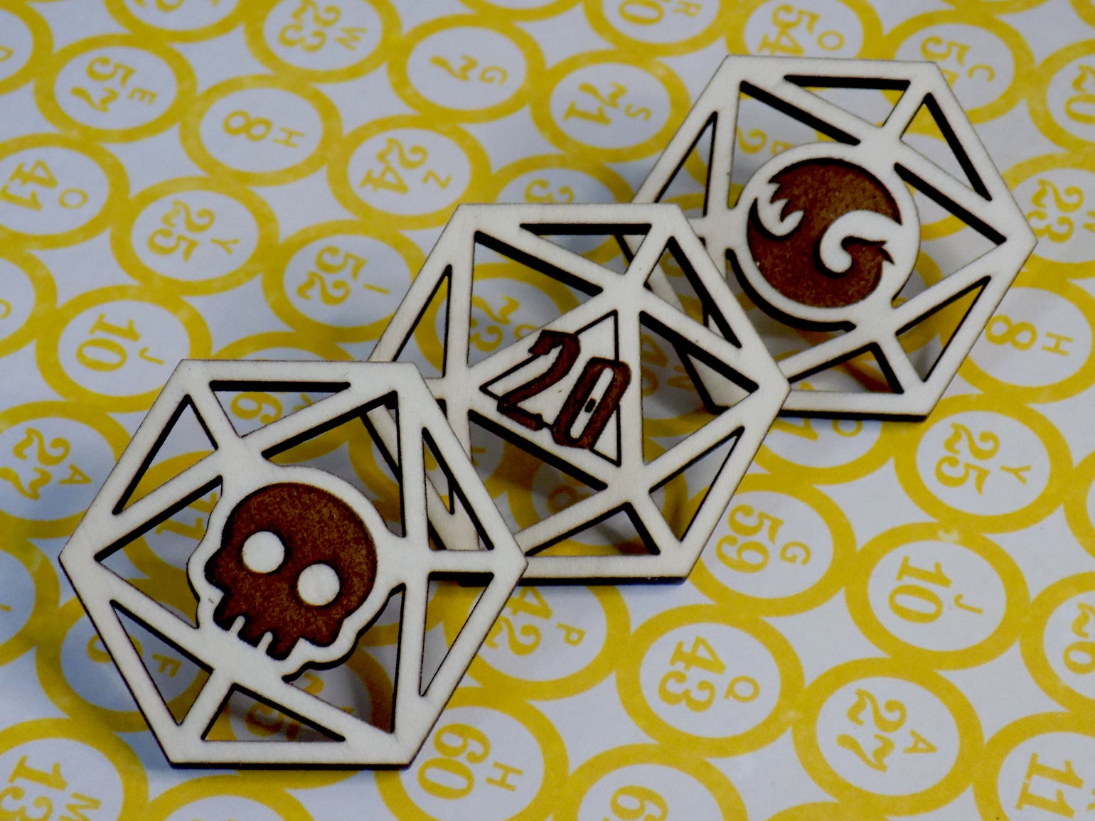 Image of d20 Wooden Dice Pins