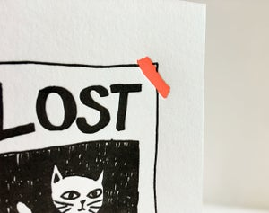 Image of Missing You Cat - Letterpress Covid 19 card