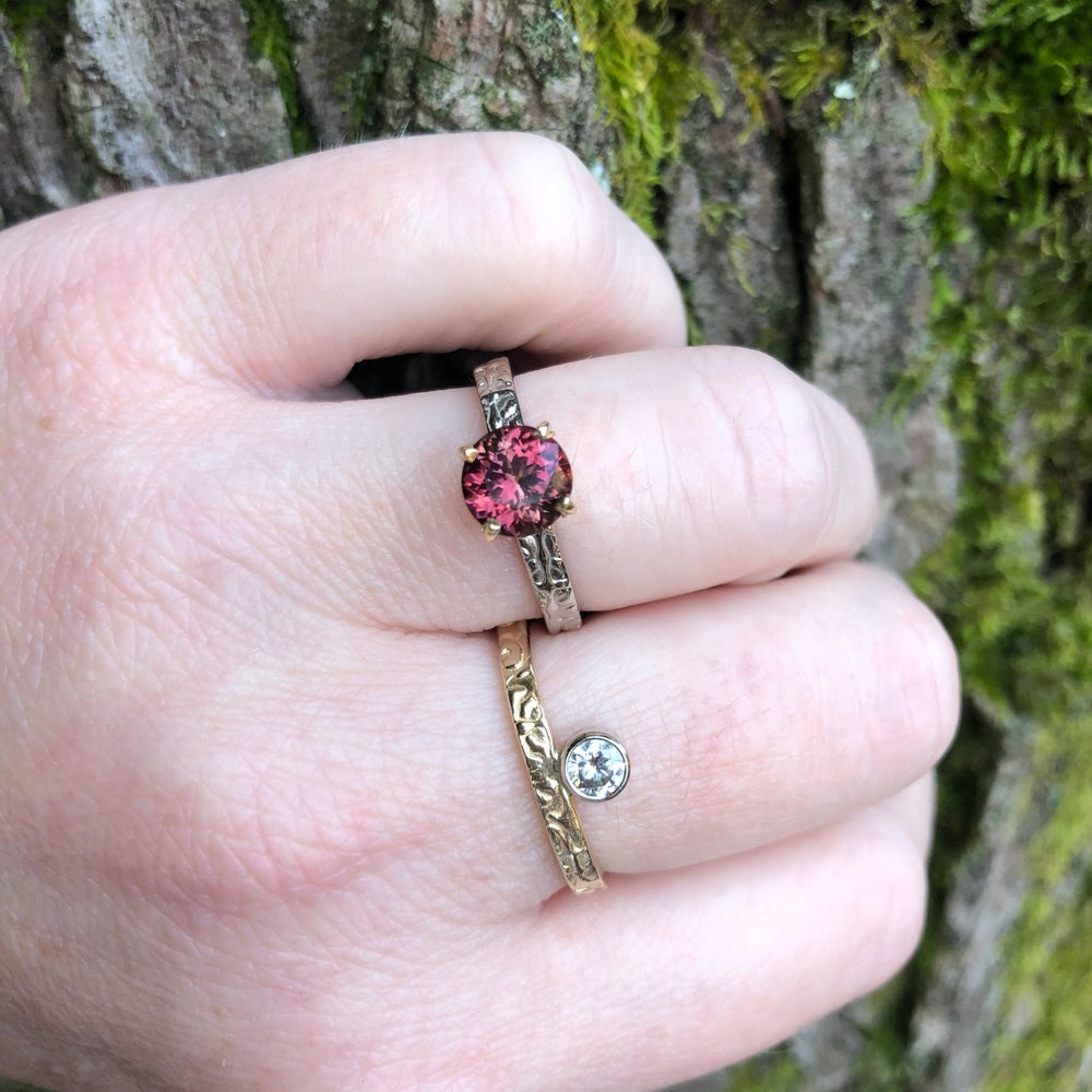 Image of red tourmaline ring in 14k and 18k gold