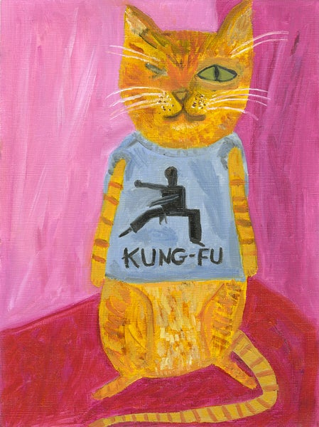 Image of Kung-Fu Kitty. Limited edition print.