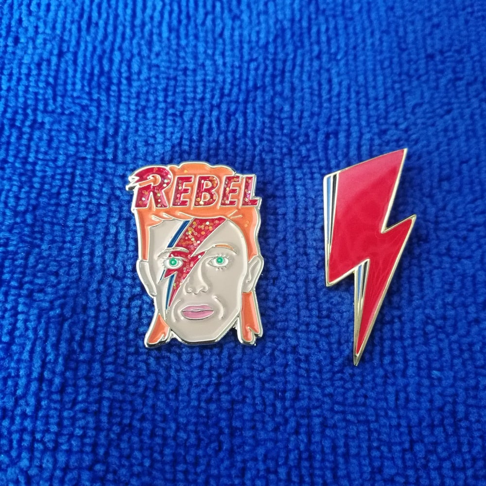 David Bowie and Lightning Bolt Pin Enamel badge Set