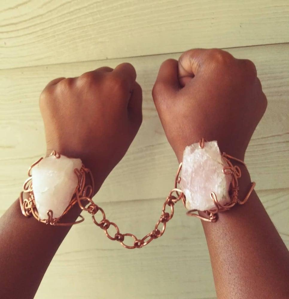 Image of Rose Quartz Love Cuffs