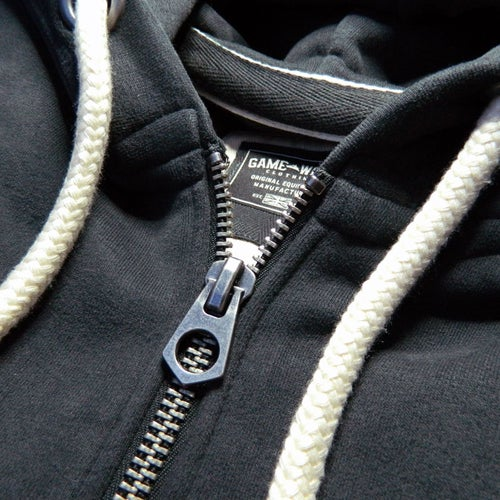 Image of GAME-WORN Super Heavyweight Zip Hooded Sweatshirt - Charcoal Black/Teal