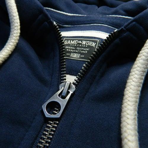 Image of GAME-WORN Super Heavyweight Zip Hooded Sweatshirt - Vintage Navy/Gold