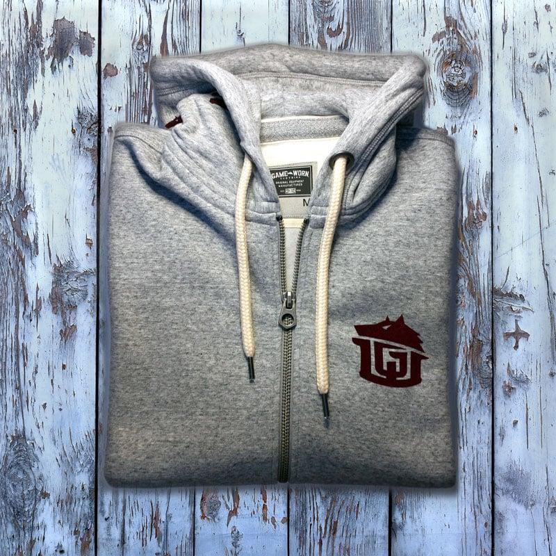 Image of GAME-WORN Super Heavyweight Zip Hooded Sweatshirt - Heritage Grey/Burgundy