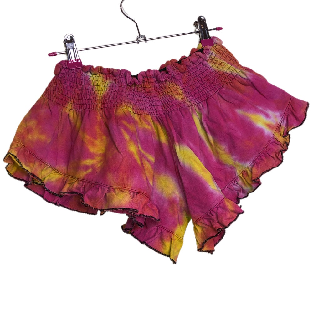 Image of Tie Dye Flutter Shorts - Multicoloured