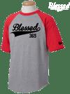 Blessed 365 Short Sleeve Baseball Tee - Red