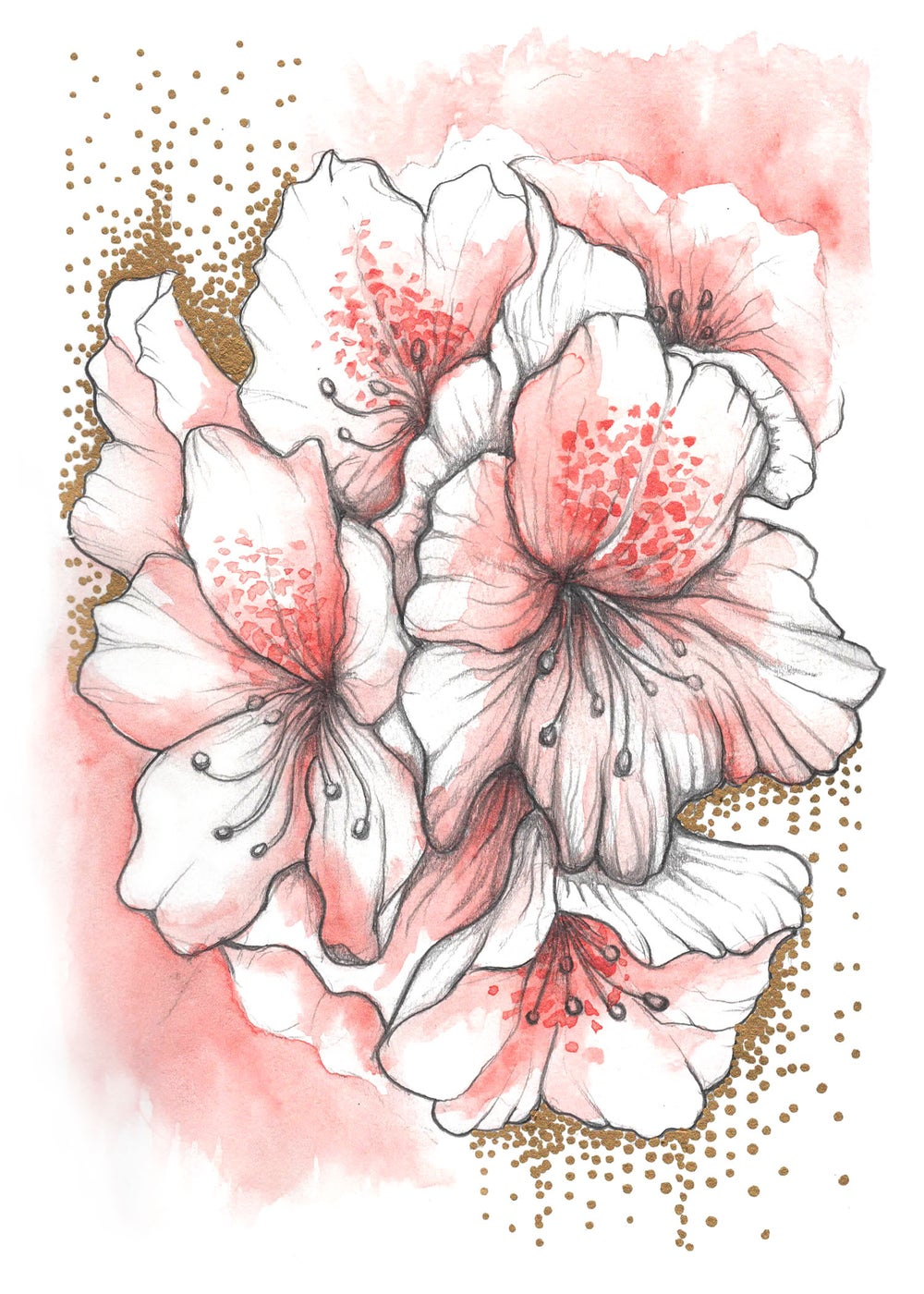 Image of Nepal Rhododendron Mixedmedia Print