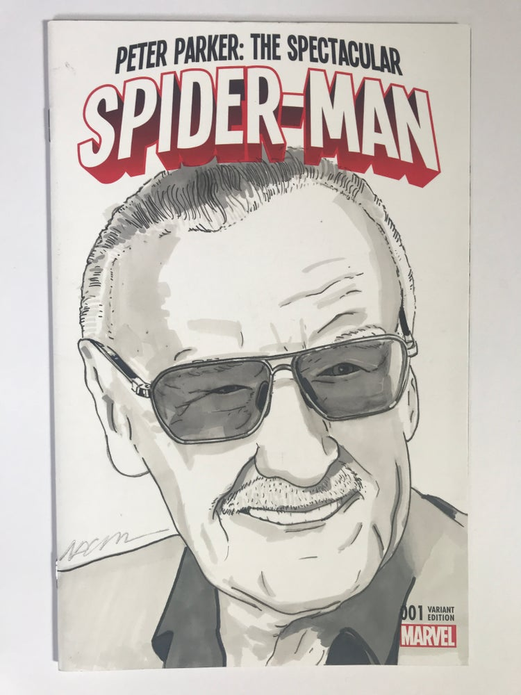 Image of Marvel Comics Spider-Man #1 Sketch Cover with 'Stan Lee' Original Art