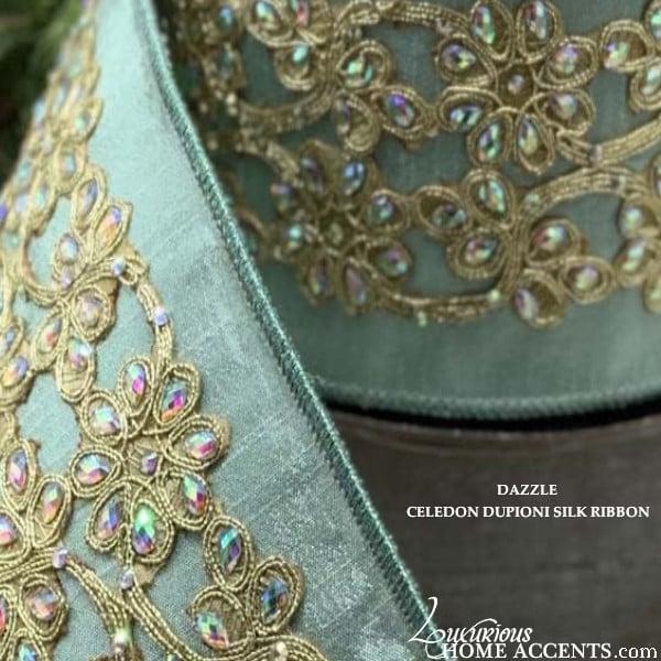 Image of Holiday Decorating Crystal Embellished Dupioni Silk Ribbon Celedon