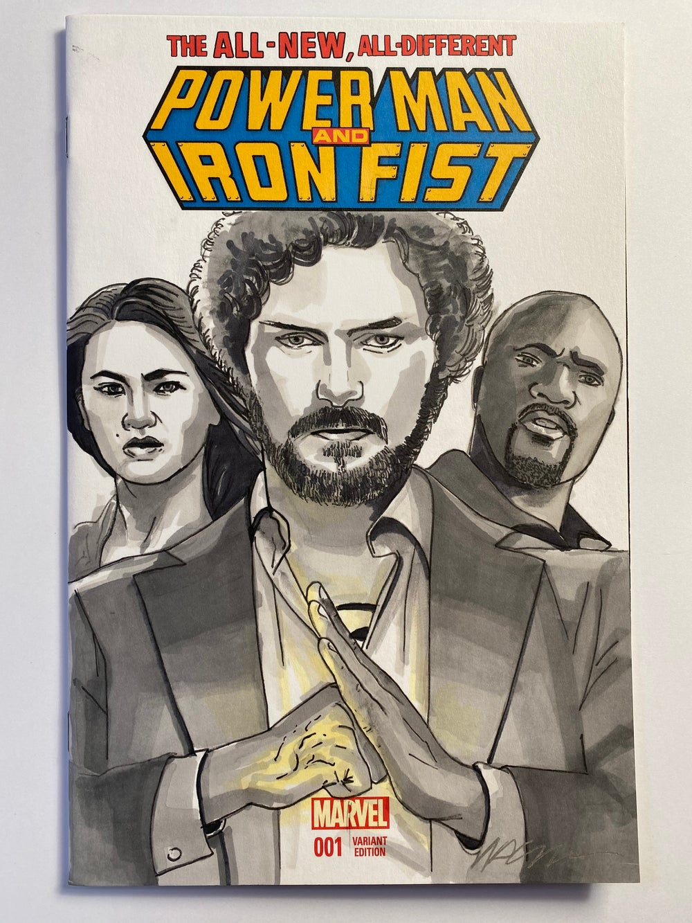 Image of Marvel Comics Powerman & Iron Fist #1 Sketch Cover with 'Iron Fist & Friends' Original Art