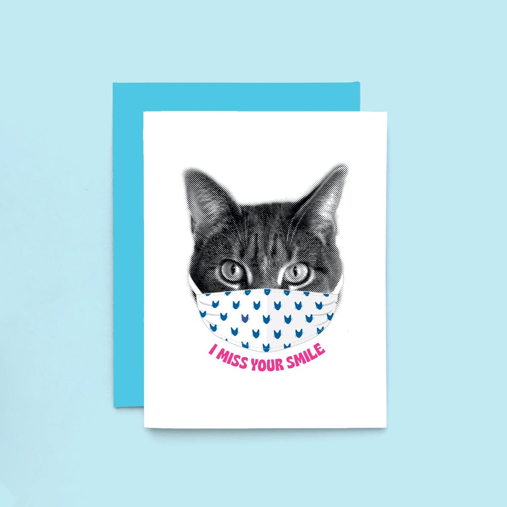 Image of gee whiskers series: i miss your smile - cat face mask - i miss you card