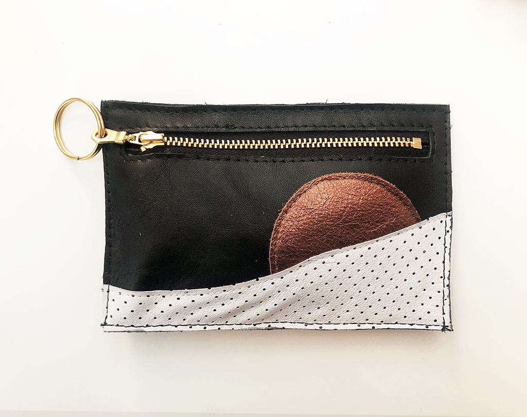 Piece Out Mini - Black, Copper and White Leather Card Holder