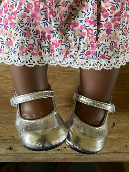 Image of Shoes to suit 38cm Miniland doll - silver Mary Janes
