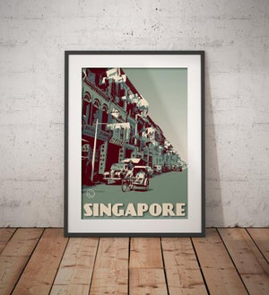 Image of Vintage Poster Singapore - Trishaw ride - Fine Art Print - Blue