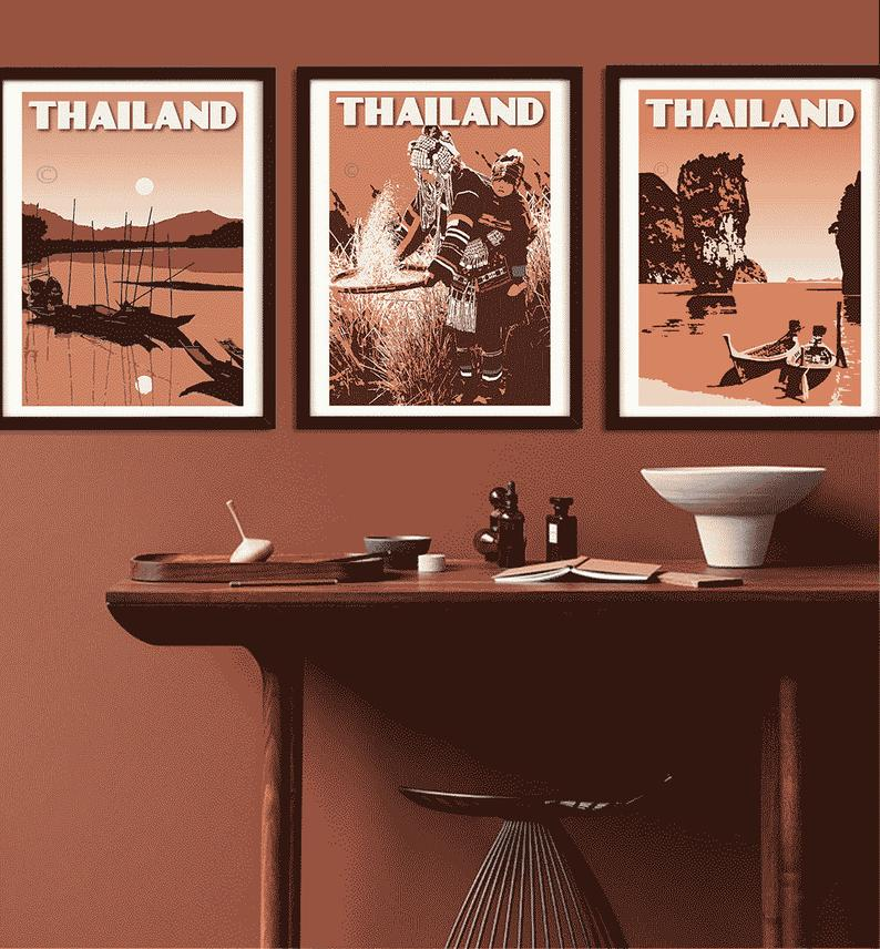 Image of Thailand Print Set | Set of 3 Prints | Phang Nga Bay | Ethnic Tribe | Earthy Tones | Terracota