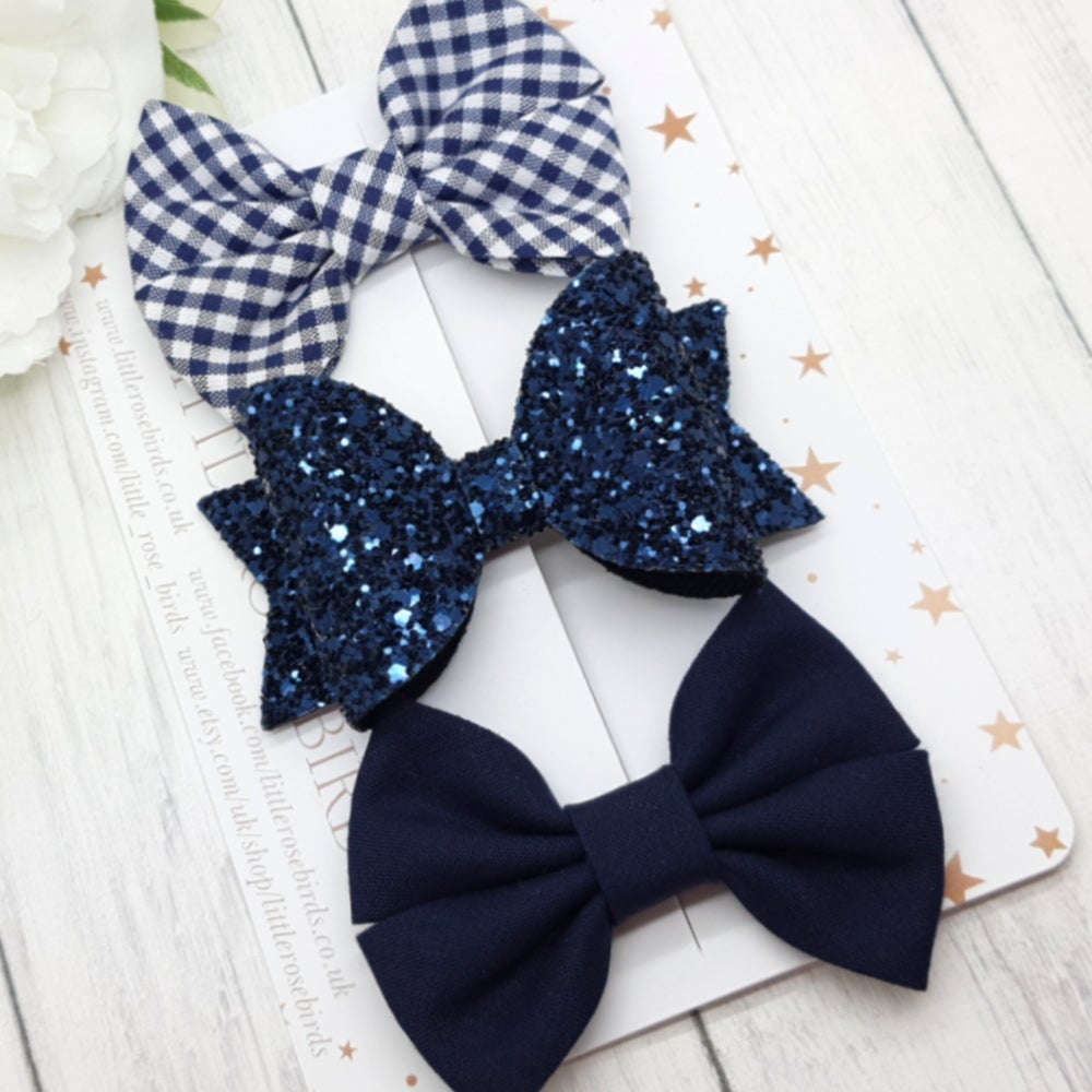 Image of Navy School bows - Choice of Headband or Clip