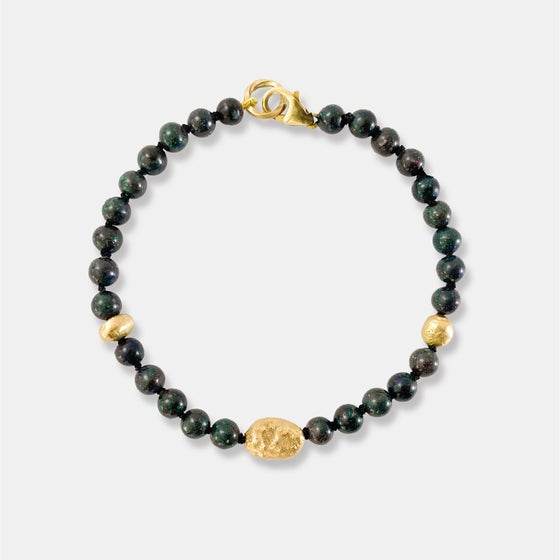 Image of BLACK OPAL BRACELET / 3 X 14K SOLID GOLD PEARLS