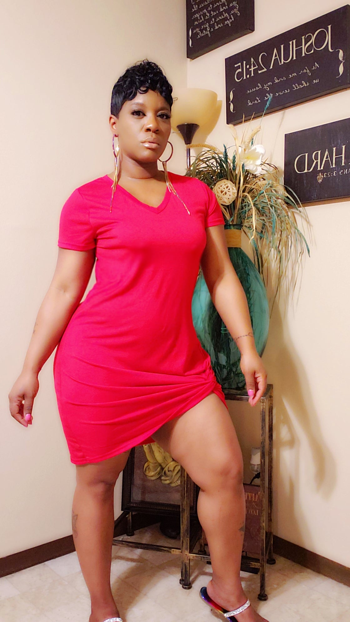 Image of Side Knot Tshirt Dress