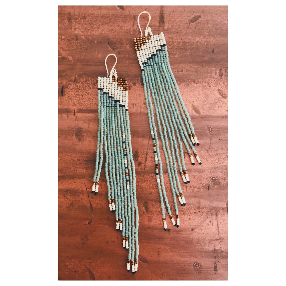 Image of Square Terrace Earrings in Seafoam