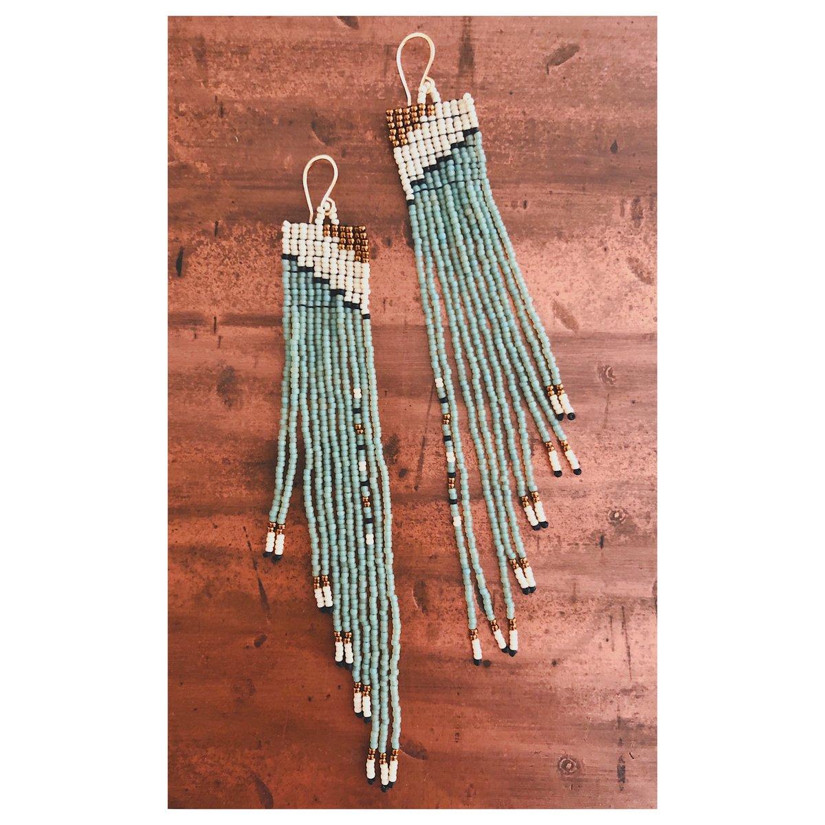 Image of Square Terrace Earrings in Seafoam