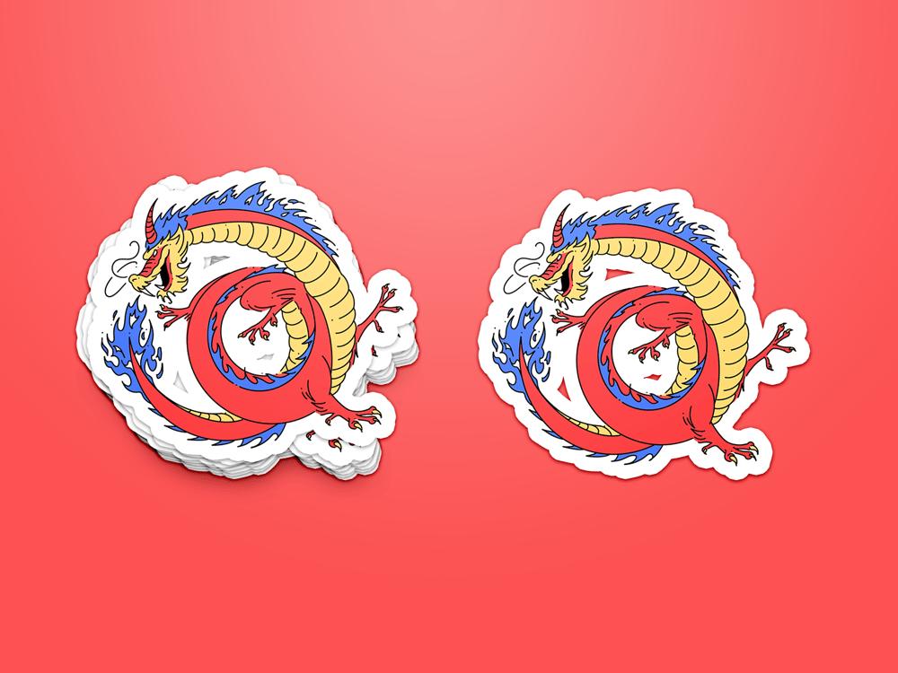 Image of Gentle Oriental Ouroboros sticker