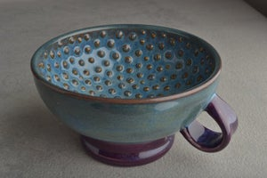 Image of Dottie Shaving Bowl Made To Order Mottled Blue Purple Lather Bowl With Handle by Symmetrical