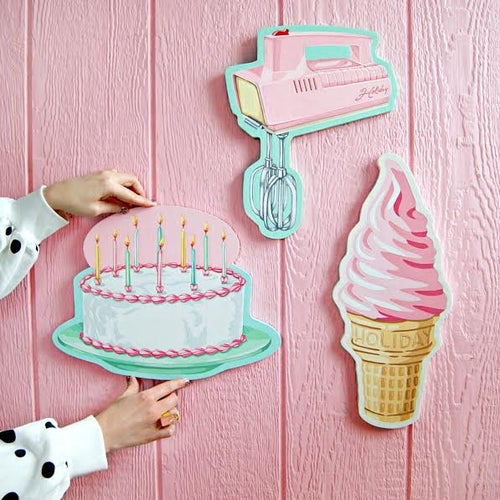 Image of Limited Edition hand painted pink ice cream cone plaque